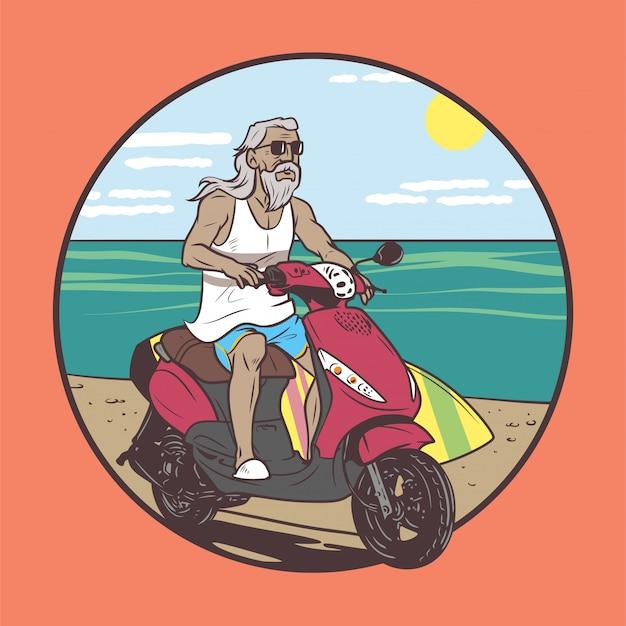 Vecchio che guida in estate Vettore Premium