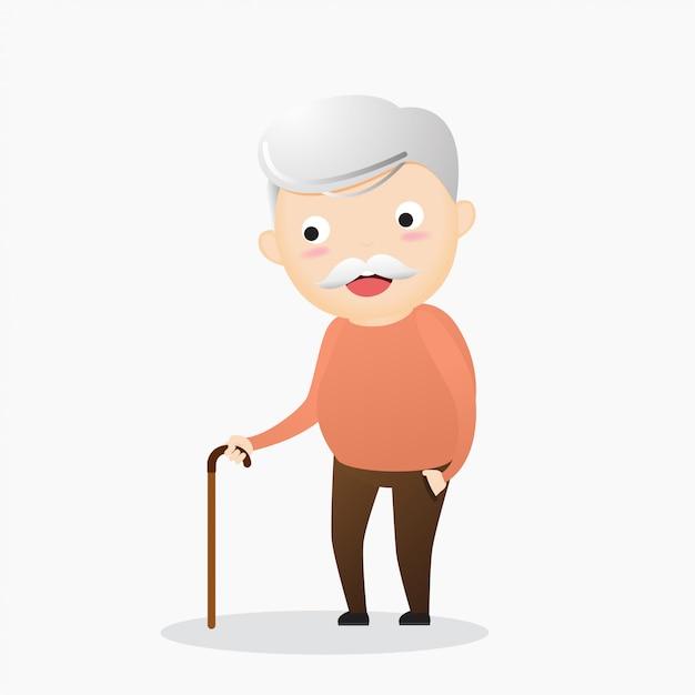 Vecchio con un bastone. un uomo anziano che soffre di mal di schiena Vettore Premium