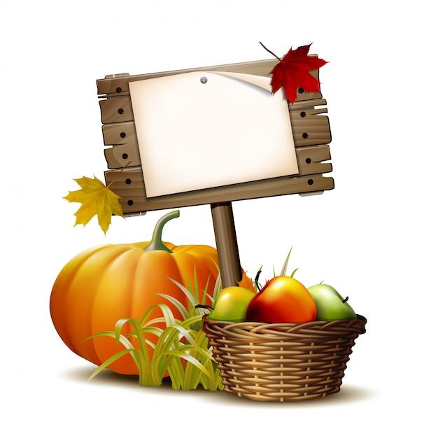 Vecchio in legno con zucca arancione, foglie autunnali e cesto pieno di mele mature. illustrazione autumn harvest festival o il giorno del ringraziamento. Vettore Premium