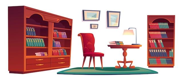 Vecchio interno della biblioteca di vip con le librerie Vettore gratuito