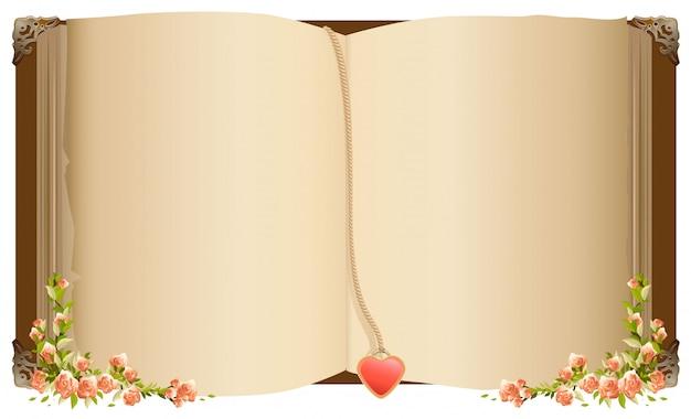 Vecchio libro aperto con segnalibro a forma di cuore Vettore Premium