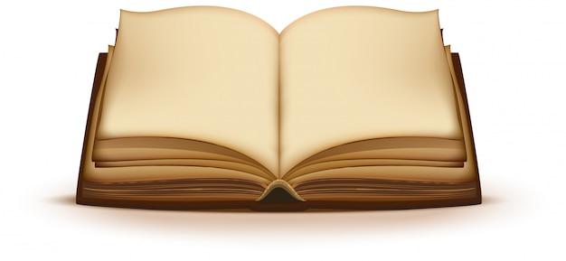 Vecchio libro magico aperto con pagine bianche Vettore Premium