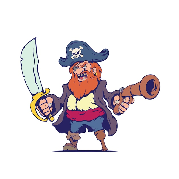 Vecchio malvagio pirata in stile cartoon Vettore Premium