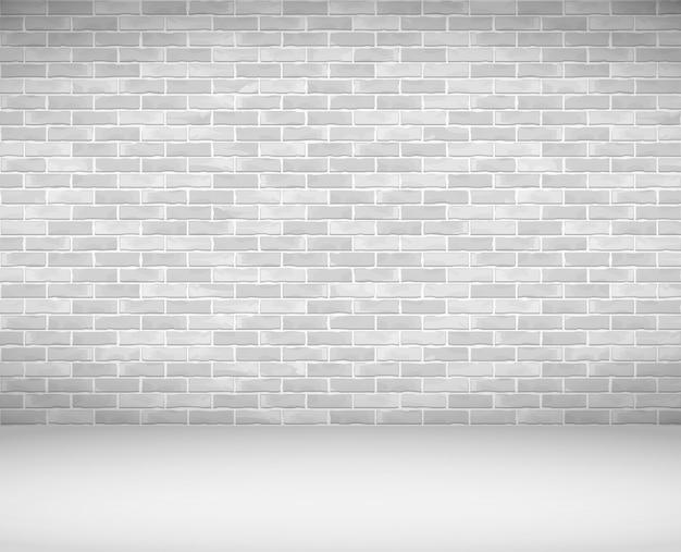 Vecchio muro di mattoni bianchi e pavimento Vettore Premium