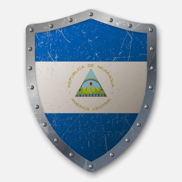 Vecchio scudo con bandiera del nicaragua Vettore Premium