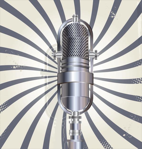 Vecchio sfondo del microfono retrò Vettore Premium