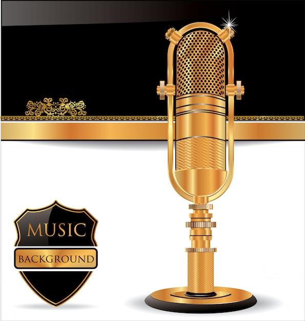 Vecchio sfondo del microfono Vettore Premium