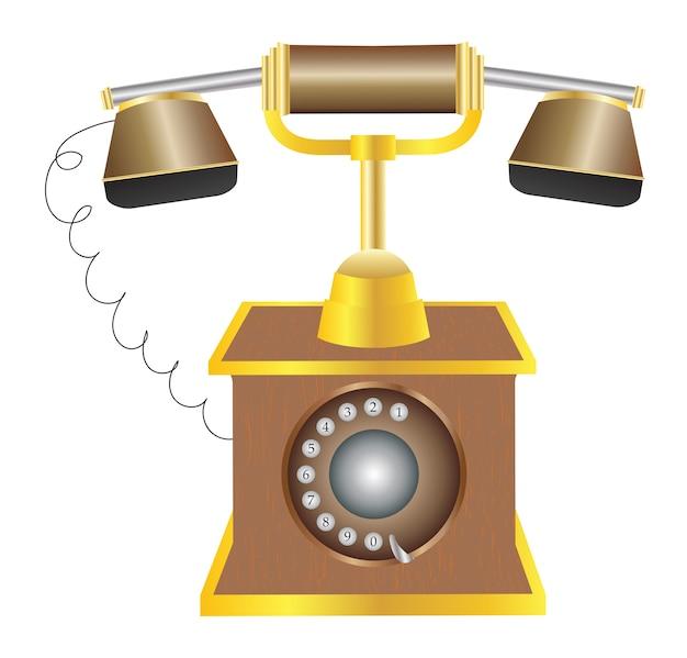 Vecchio Telefono Classico Su Uno Sfondo Bianco Scaricare Vettori