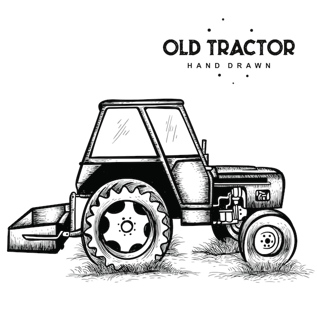 Vecchio trattore disegnato a mano Vettore Premium