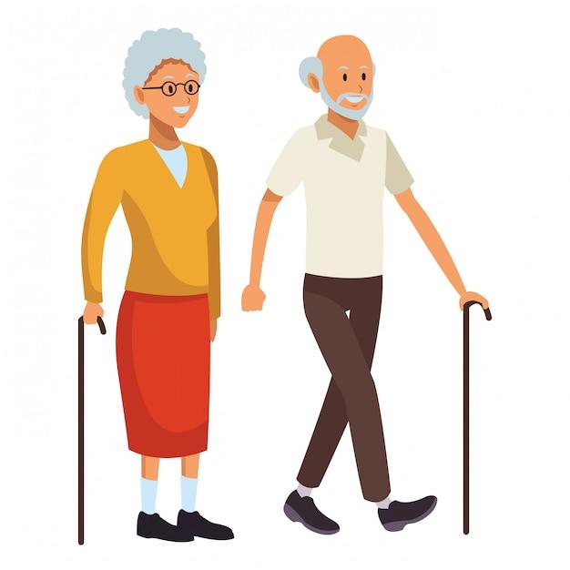 Vecchio uomo e donna Vettore Premium