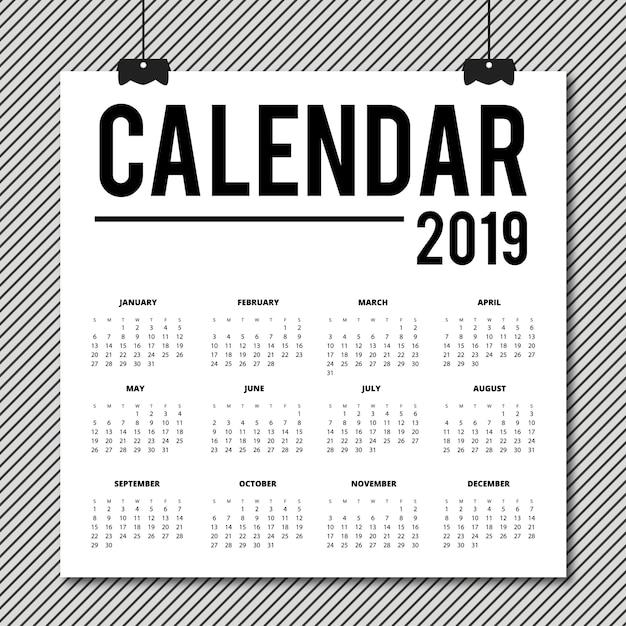 Vector 2019 calendar design Vettore gratuito