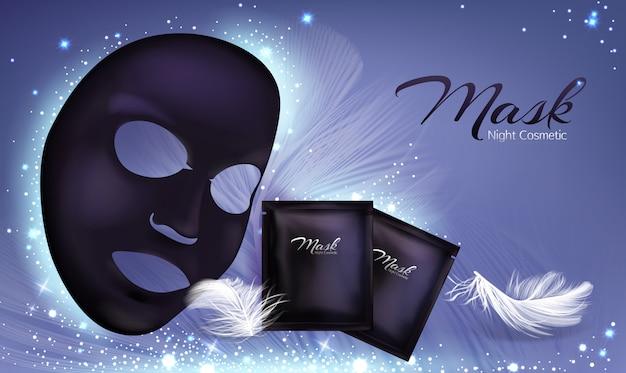Vector 3d banner realistico con maschera cosmetica facciale foglio nero e bustina Vettore gratuito