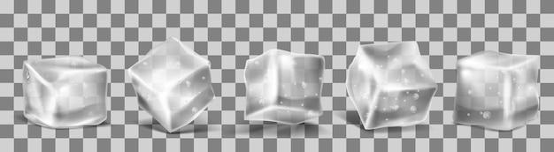 Vector 3d cubetti di ghiaccio realistico Vettore gratuito