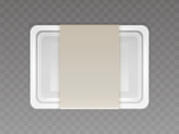 Vector 3d realistico contenitore di plastica per alimenti, prodotti con copertina di carta Vettore gratuito