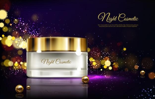 Vector 3d realistico pubblicità mock up - crema notte in barattolo, cosmetici di lusso. Vettore gratuito