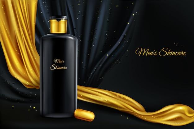 Vector 3d realistico sfondo cosmetico, mock up di cosmetici di lusso per gli uomini Vettore gratuito