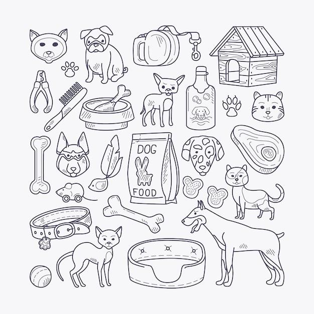 Vector animali domestici disegnati a mano Vettore Premium