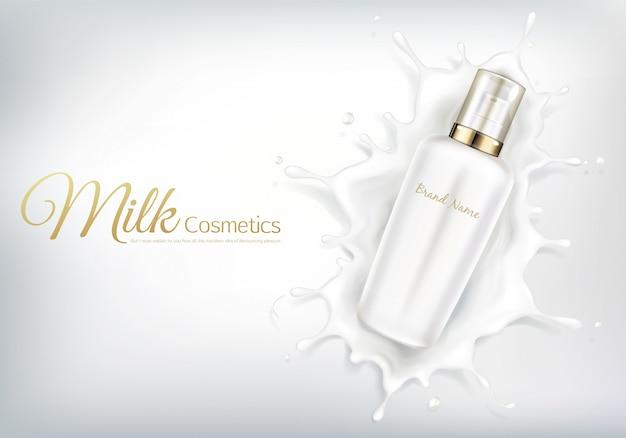 Vector banner cosmetico con bottiglia realistica per crema per la cura della pelle o lozione per il corpo. Vettore gratuito