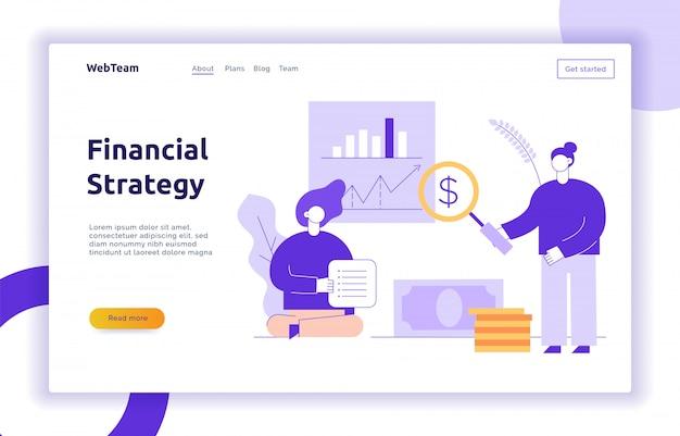 Vector banner web di strategia aziendale e finanza Vettore Premium