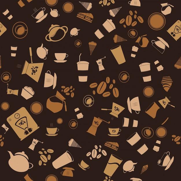 Vector caffè senza soluzione di continuità. icona di sfondo Vettore gratuito