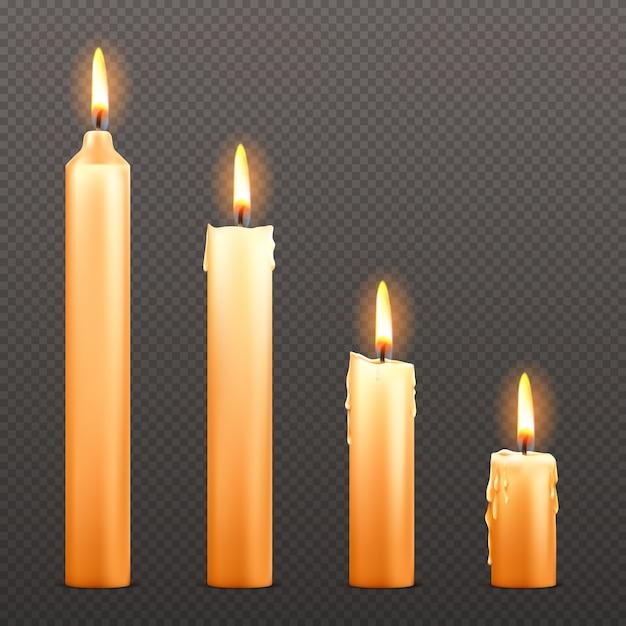 Vector candele accese di diverse dimensioni Vettore gratuito
