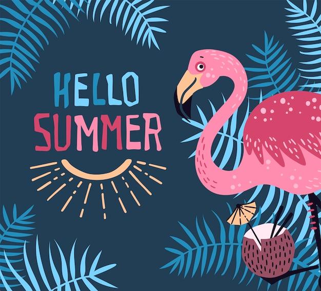 Vector carino fenicottero con un cocktail tropicale. lettering: ciao estate. Vettore Premium