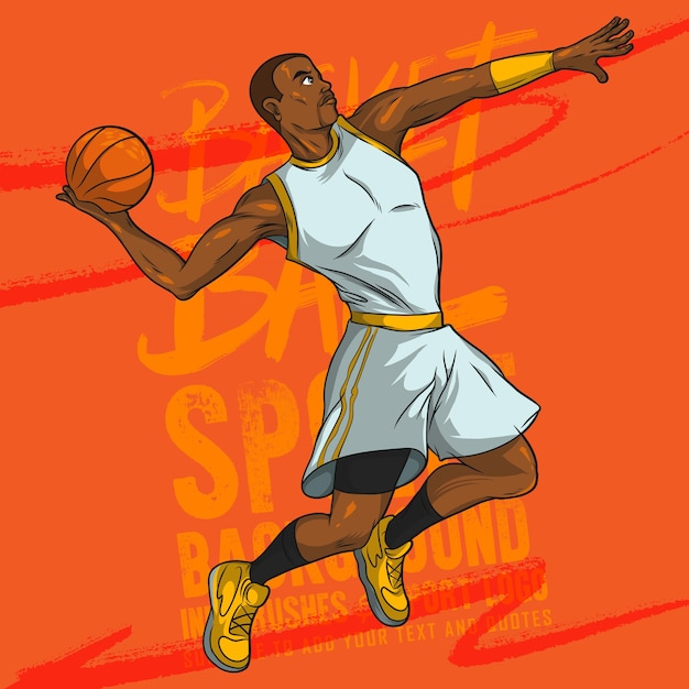 Vector cartoon giocatore di basket Vettore Premium