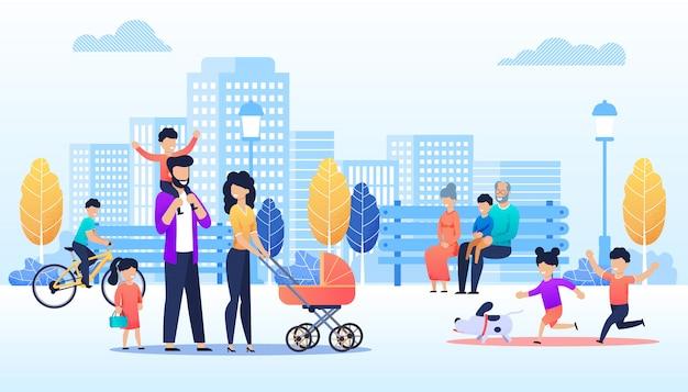 Vector cartoon persone che camminano nel parco urbano Vettore Premium