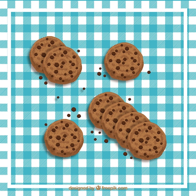 Vector chocolate chip cookie set Vettore gratuito