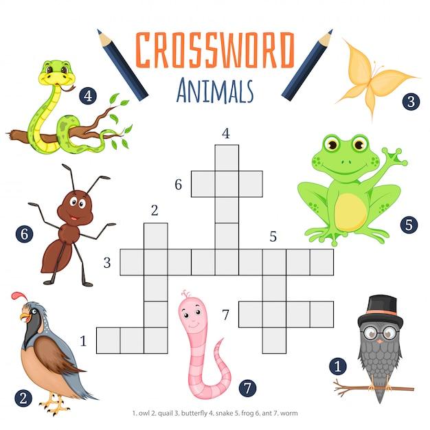 Vector cruciverba di colore, gioco di educazione per i bambini sugli animali Vettore Premium