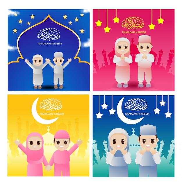 Vector cute ramadhan islam religion muslim cartolina d'auguri Vettore Premium