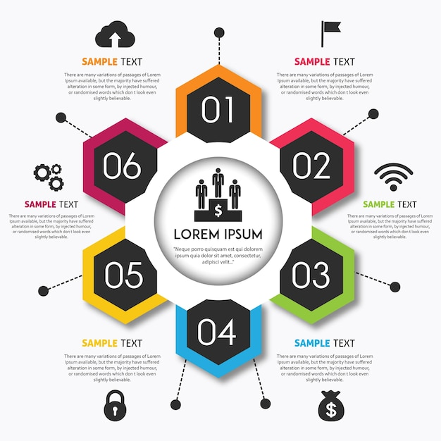Vector design colorato infografica Vettore gratuito