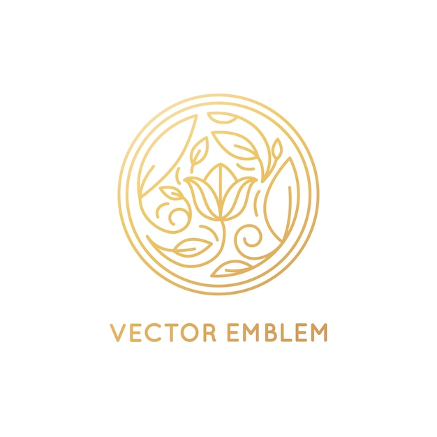 Vector emblema semplice ed elegante logo design in stile lineare alla moda Vettore Premium