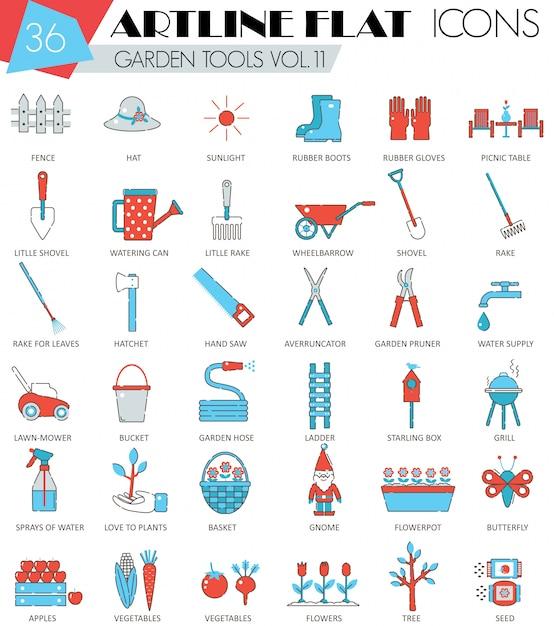 Vector garden tools ultra moderno profilo artline linea piatta icone per il web e applicazioni. Vettore Premium