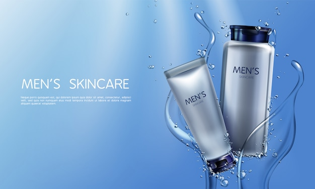 Vector i cosmetici realistici 3d per gli uomini nella spruzzatura dell'acqua blu Vettore gratuito