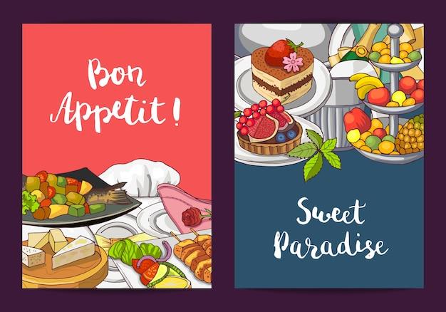Vector i modelli della carta o dell'aletta di filatoio con gli elementi disegnati a mano del ristorante o del servizio in camera e disponga per l'illustrazione del testo Vettore Premium