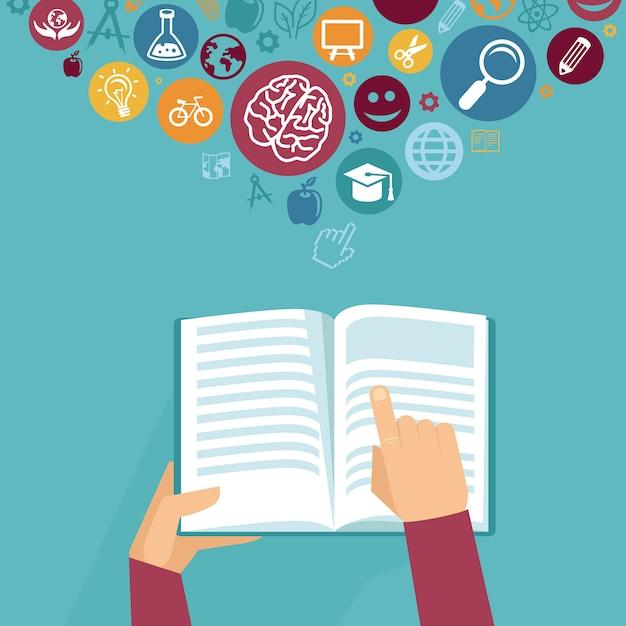 Vector il concetto di istruzione - mani che tengono il libro nel retro stile piano Vettore Premium