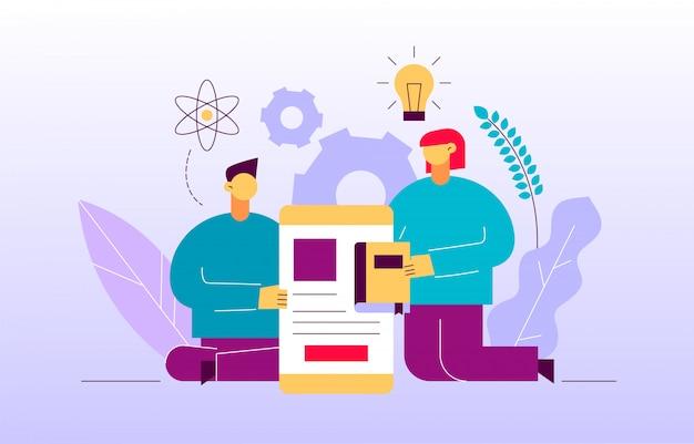 Vector il concetto online dell'insegna della pagina web di istruzione Vettore Premium