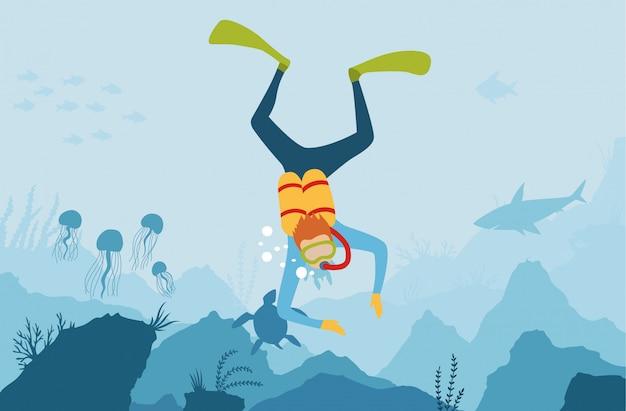 Vector il fondo subacqueo di stile del fumetto con la flora e la fauna del mare Vettore Premium
