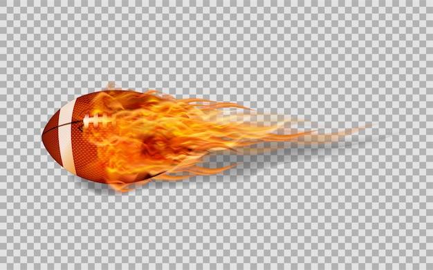 Vector il football americano nel fuoco su sfondo trasparente. Vettore Premium