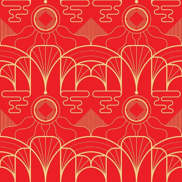 Vector il modello asiatico delle mattonelle geometriche moderne su fondo rosso. Vettore Premium