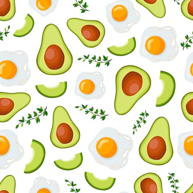 Vector il modello senza cuciture con l'avocado e l'uovo Vettore Premium