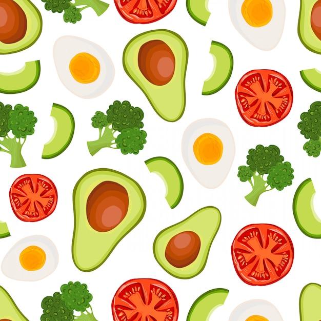 Vector il modello senza cuciture con l'avocado, i broccoli, il pomodoro, l'uovo Vettore Premium