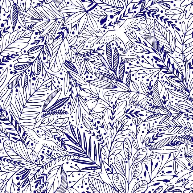 Vector il modello senza cuciture floreale con le foglie e gli uccelli di exotik Vettore Premium