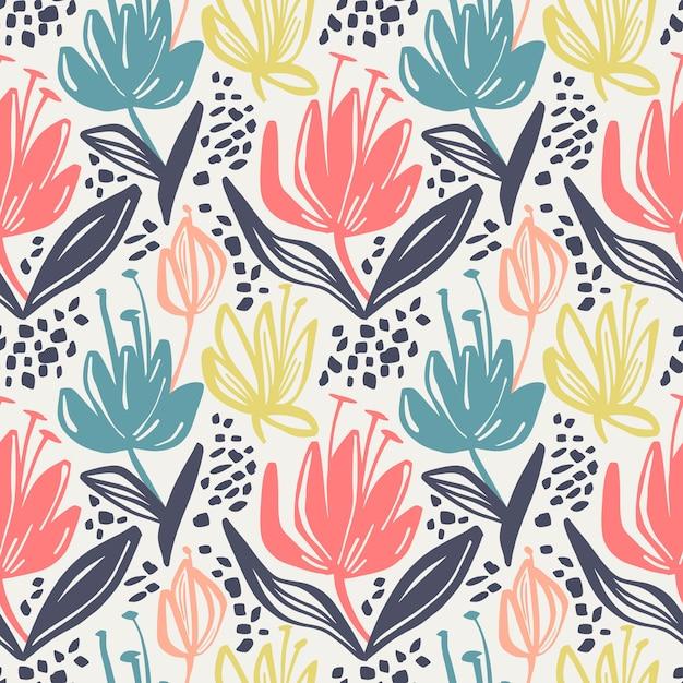 Vector il reticolo floreale senza giunte con i fiori minimalistic su priorità bassa chiara. Vettore Premium
