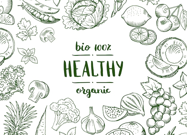 Vector il vegano disegnato a mano di frutta e verdure di scarabocchio orizzontale, l'insegna sana dell'alimento e il manifesto con l'illustrazione delle verdure del fondo Vettore Premium