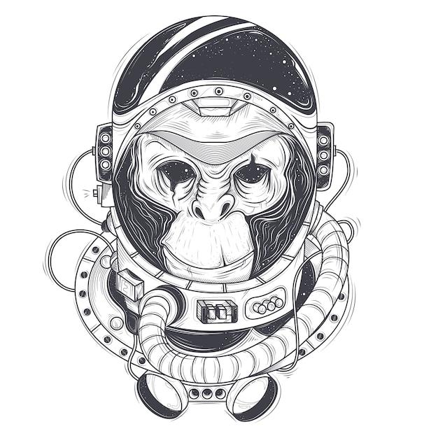 Vector illustrazione disegnata a mano di un astronauta scimmia, scimpanzé in un abito spaziale Vettore gratuito