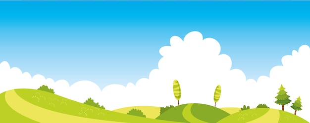 Vector ilustration of colorful nature scene Vettore Premium