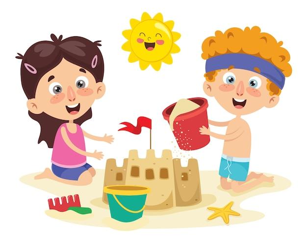 Vector ilustration of summer children Vettore Premium