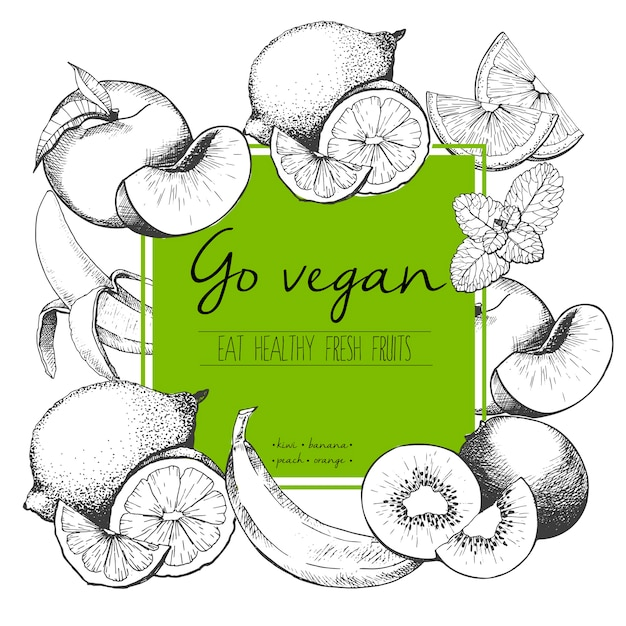 Vector incisa illustrazione di frutta fresca Vettore Premium